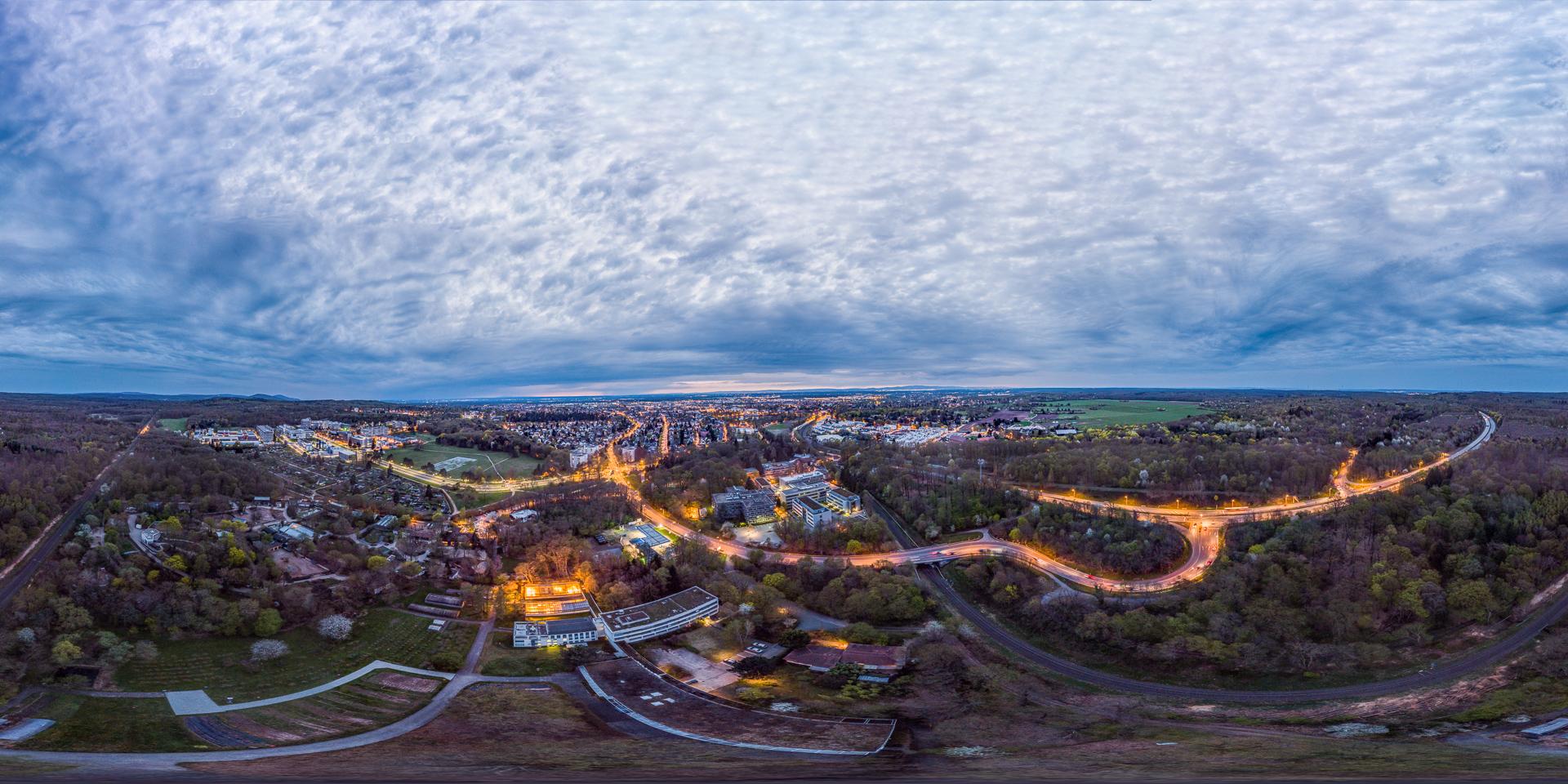 Darmstadt Nacht Luftaufnahme
